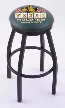 "Texas Hold Em"" (L8B2B) 25"" Tall Logo Bar Stool by Holland Bar Stool Company (with Single Ring Swivel Black Solid Welded Base)"