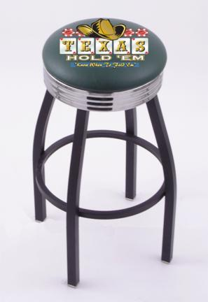 """Texas Hold Em"""" (L8B3C) 25"""" Tall Logo Bar Stool by Holland Bar Stool Company (with Single Ring Swivel Black Solid Welded Base)"""