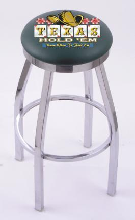 """Texas Hold Em"""" (L8C2C) 25"""" Tall Logo Bar Stool by Holland Bar Stool Company (with Single Ring Swivel Chrome Solid Welded Base)"""
