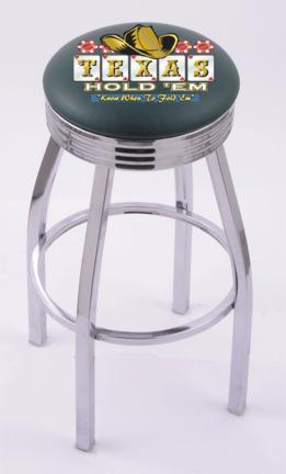 """Texas Hold Em"""" (L8C3C) 25"""" Tall Logo Bar Stool by Holland Bar Stool Company (with Single Ring Swivel Chrome Solid Welded Base)"""