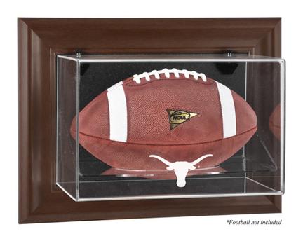Texas Longhorns Brown Framed Wall Mountable Logo Football Display Case