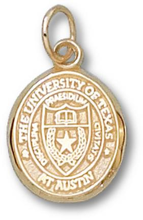 """Texas Longhorns Oval """"Seal"""" 1/2"""" Charm - 10KT Gold Jewelry"""