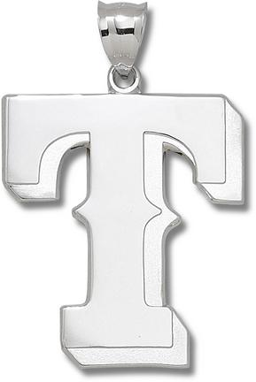 """Texas Rangers Giant 1 5/8"""" W x 1 7/8"""" H """"T"""" Pendant - Sterling Silver Jewelry"""