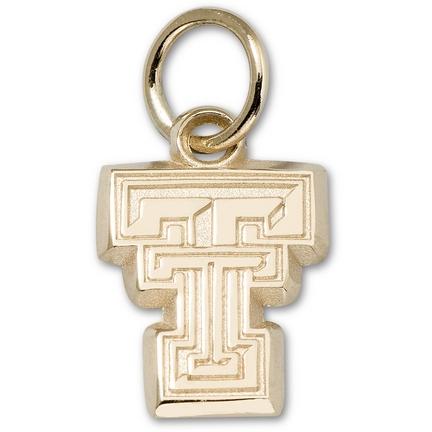 "Texas Tech Red Raiders 3/8"" New Bevel ""TT"" Charm - 14KT Gold Jewelry"