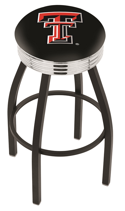 """Texas Tech Red Raiders (L8B3C) 30"""" Tall Logo Bar Stool by Holland Bar Stool Company (with Single Ring Swivel Black Solid Welded Base)"""