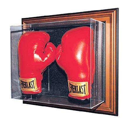 """The """"Case-Up"""" Collection Double Boxing Glove Display Case (Mahogany Finish)"""