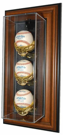 """Three Ball """"Case-Up"""" Wall Mountable Wood Display Case"""
