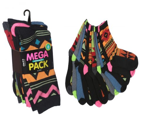 Tipitoe 2285329 Womens Tribal Print Crew Socks 6 per Pack - Case of 60
