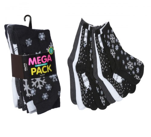 Tipitoe 2285330 Womens Snow Flake Print Crew Socks 6 per Pack - Case of 60