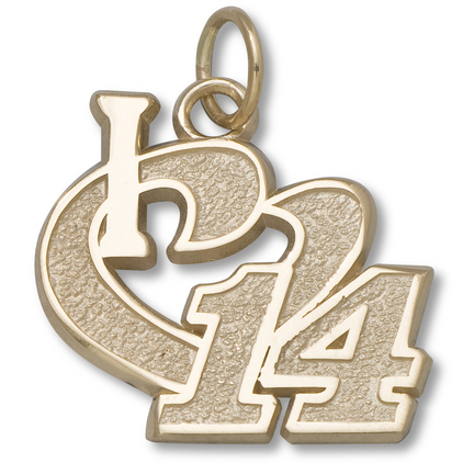 "Tony Stewart 1/2"" ""I Heart 14"" Charm - 10KT Gold Jewelry"
