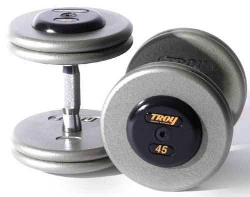 Troy Barbell HFD-42.5R Pro-Style Dumbbells - Gray Plates And Rubber End Caps - 42.5 Pounds Each - Sold as Pairs