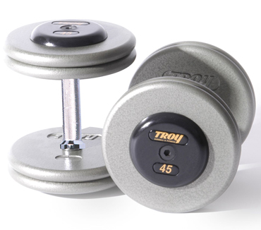 Troy Barbell HFD-7.5R Grey Troy Pro-Style Cast dumbbells - Rubber endcaps - 7.5 lbs.