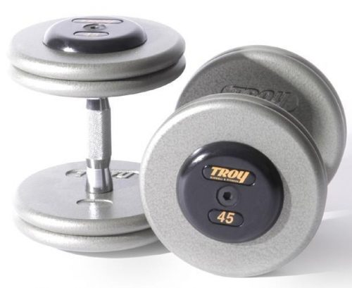 Troy Barbell HFDC-045R Pro-Style Fix Dumbbells With Gray Plates And Rubber End Cap - 45 Pounds - Sold as Pairs
