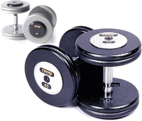 Troy Barbell HFDC-22.5C Pro-Style Dumbbells - Gray Plates And Chrome End Caps - 22.5 Pounds - Sold as Pairs