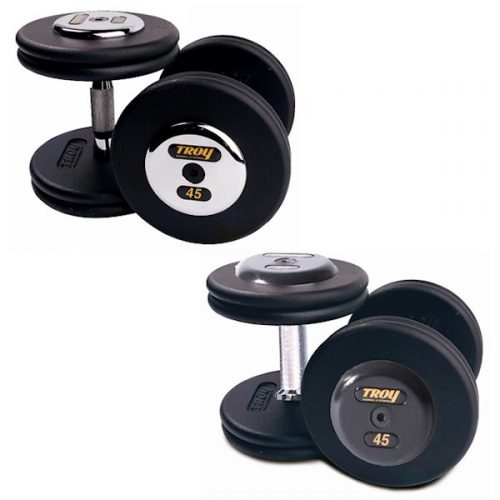 Troy Barbell PFD-010C Black Troy Pro-Style Cast dumbbells - Chrome endplates - 10 lbs. - Sold as Pairs