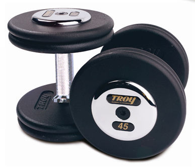 Troy Barbell PFD-045C Black Troy Pro-Style Cast dumbbells - Chrome endplates - 45 lbs. - Sold as Pairs
