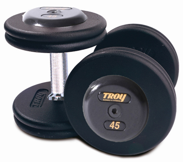 Troy Barbell PFD-12.5R Black Troy Pro-Style Cast dumbbells - Rubber endplates - 12.5 lbs. - Sold as Pairs