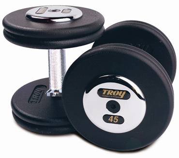 Troy Barbell PFD-17.5C Black Troy Pro-Style Cast dumbbells - Chrome endplates - 17.5 lbs. - Sold as Pairs