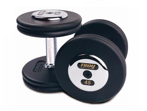 Troy Barbell PFD-47.5C Black Troy Pro-Style Cast dumbbells - Chrome endplates - 47.5 lbs. - Sold as Pairs