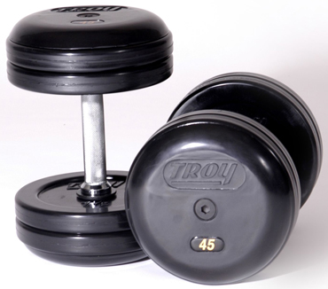 Troy Barbell RUFD-17.5 Troy Pro-Style Rubber dumbbells - 17.5 lbs. - sold as pairs