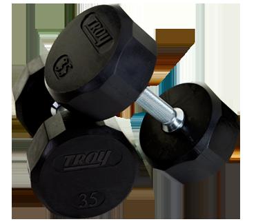 Troy Barbell TSD-080R Troy 12-Sided Rubber Encased Dumbbell - 80 lbs. - Sold as single dumbbell