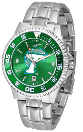 Tulane Green Wave Competitor AnoChrome Men's Watch with Steel Band and Colored Bezel