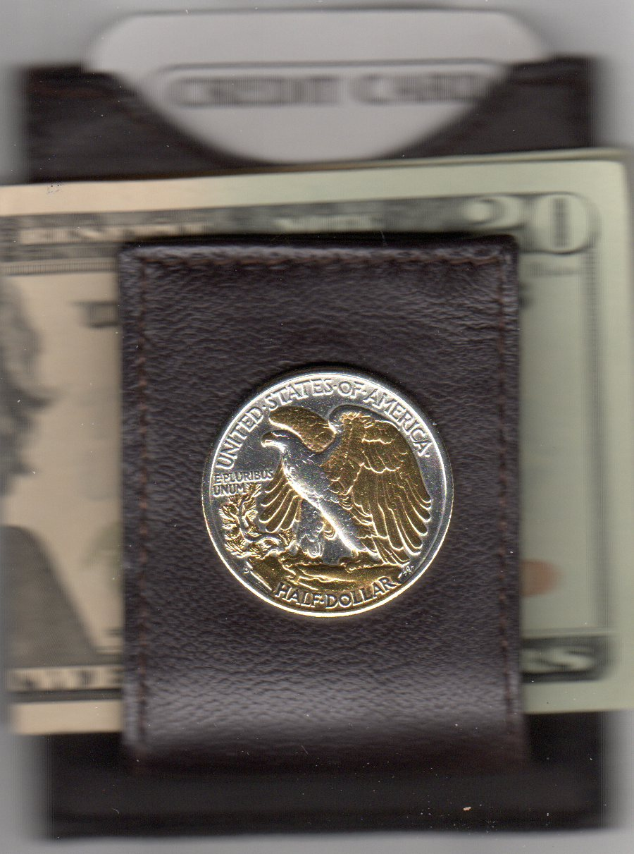 U.S. Walking Liberty Reverse Silver Half Dollar (1916 - 1947) Two Tone Coin Folding Money Clip with Silver Highlights