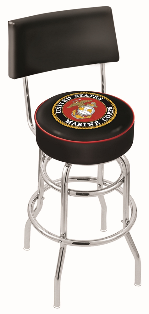 """US Marines (L7C4) 25"""" Tall Logo Bar Stool by Holland Bar Stool Company (with Double Ring Swivel Chrome Base and Chair Seat Back)"""