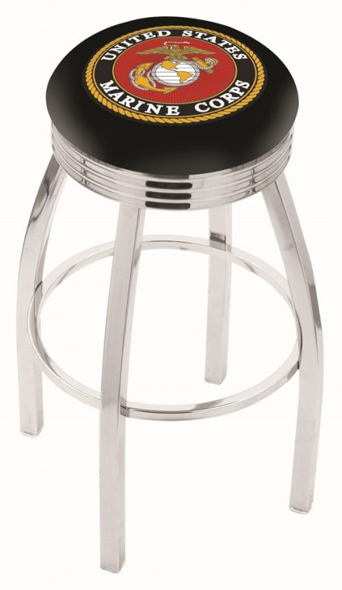 """US Marines (L8C3C) 30"""" Tall Logo Bar Stool by Holland Bar Stool Company (with Single Ring Swivel Chrome Solid Welded Base)"""