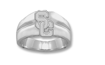 "USC Trojans Athletic ""SC"" Men's Ring Size 10 1/2 - Sterling Silver Jewelry"