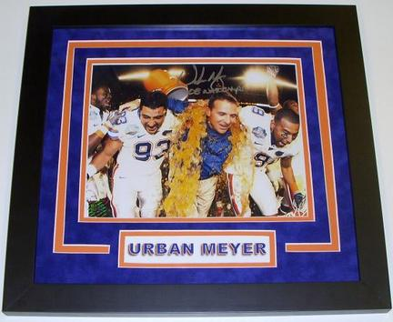 "Urban Meyer Autographed Custom Framed Florida Gators National Championship 8"" x 10"" Gatorade Photograph with ""08 NAT CHAMPS"" inscription"