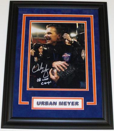 "Urban Meyer Autographed Florida Gators 2008 National Championship 8"" x 10"" ""Trophy"" Photograph with ""08 NATL CHAMPS"" inscription CUSTOM FRAMED"