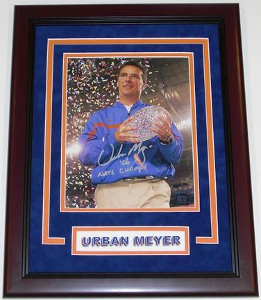 "Urban Meyer Autographed Florida Gators 8"" x 10"" ""Trophy"" Photograph with ""06 NATL CHAMPS"" inscription CUSTOM Mahogany FRAME (Unframed)"