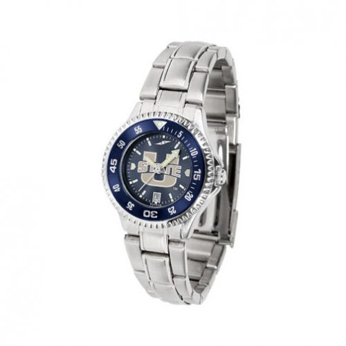 Utah State Aggies Competitor AnoChrome Ladies Watch with Steel Band and Colored Bezel