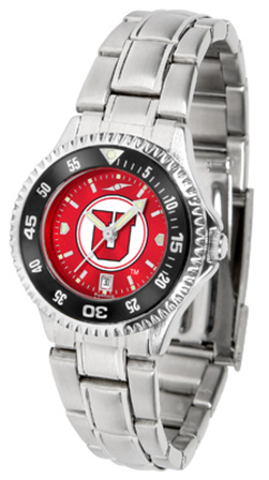 Utah Utes Competitor AnoChrome Ladies Watch with Steel Band and Colored Bezel