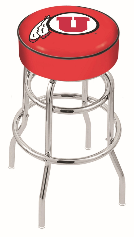 "Utah Utes (L7C1) 30"" Tall Logo Bar Stool by Holland Bar Stool Company (with Double Ring Swivel Chrome Base)"