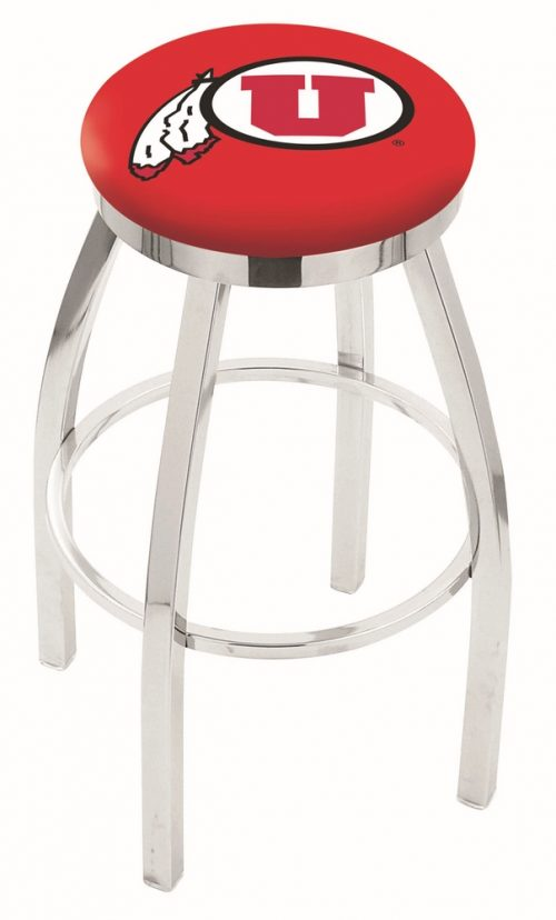 """Utah Utes (L8C2C) 25"""" Tall Logo Bar Stool by Holland Bar Stool Company (with Single Ring Swivel Chrome Solid Welded Base)"""