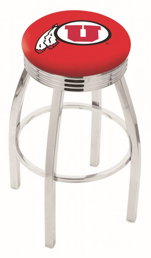 """Utah Utes (L8C3C) 25"""" Tall Logo Bar Stool by Holland Bar Stool Company (with Single Ring Swivel Chrome Solid Welded Base)"""