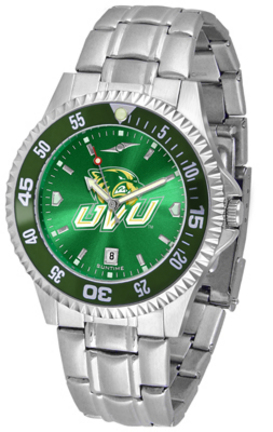 Utah Valley State (UVSC) Wolverines Competitor AnoChrome Men's Watch with Steel Band and Colored Bezel