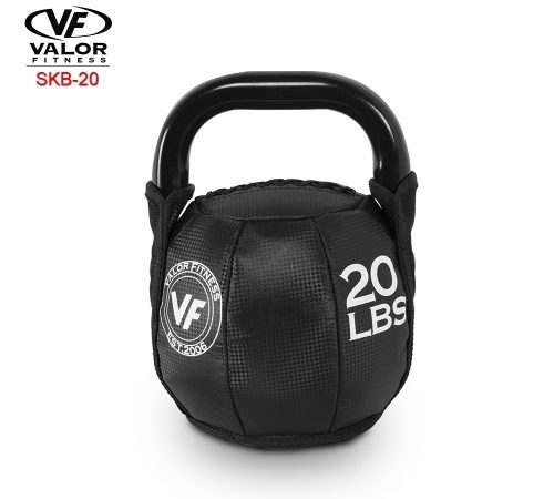 Valor Fitness SKB-20 Soft Kettlebell 20 lbs - Black & PVC Leather