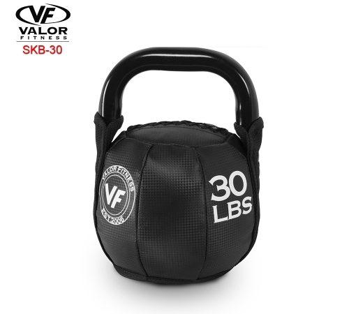 Valor Fitness SKB-30 Soft Kettlebell 30 lbs - Black & PVC Leather