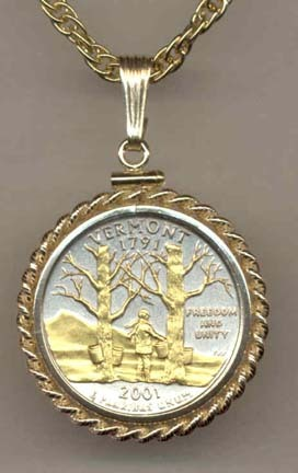 """Vermont Two Tone Rope Bezel Statehood Quarter with 18"""" Rope Necklace"""
