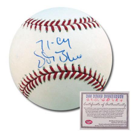 "Vida Blue Autographed Rawlings MLB Baseball with ""71 Cy"" Inscription"