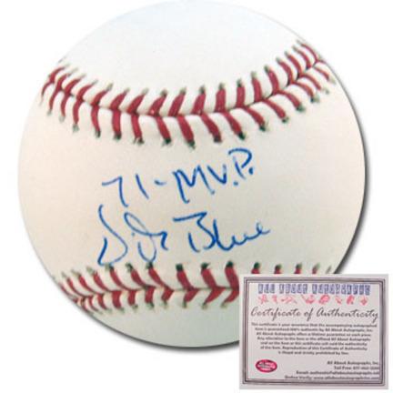"Vida Blue Autographed Rawlings MLB Baseball with ""71 MVP"" Inscription"