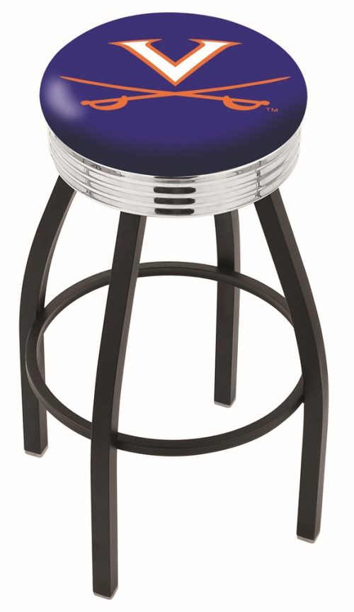 "Virginia Cavaliers (L8B3C) 25"" Tall Logo Bar Stool by Holland Bar Stool Company (with Single Ring Swivel Black Solid Welded Base)"