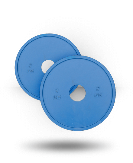 Vulcan 2KGBLUERUBBER-WS 2 kg V-Lock Olympic Weightlifting Rubber Discs Pairs