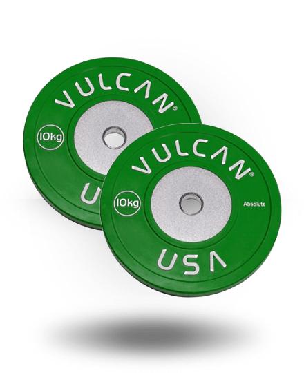 Vulcan VULCRUBCOMP10-WS 10 kg Competition Bumper Plates Pair - Black