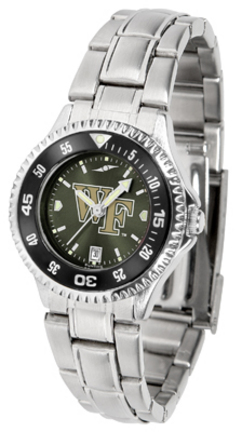 Wake Forest Demon Deacons Competitor AnoChrome Ladies Watch with Steel Band and Colored Bezel