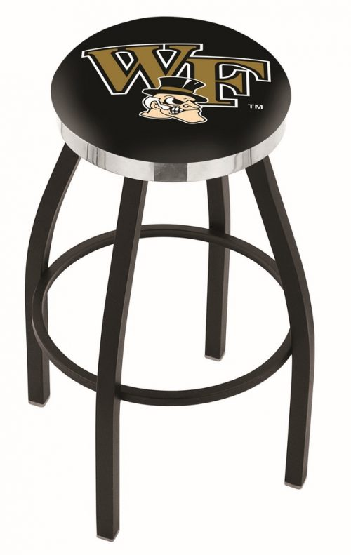 """Wake Forest Demon Deacons (L8B2C) 25"""" Tall Logo Bar Stool by Holland Bar Stool Company (with Single Ring Swivel Black Solid Welded Base)"""