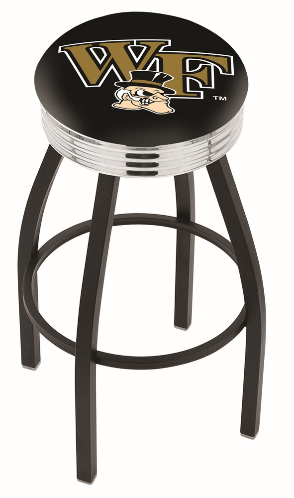"""Wake Forest Demon Deacons (L8B3C) 25"""" Tall Logo Bar Stool by Holland Bar Stool Company (with Single Ring Swivel Black Solid Welded Base)"""